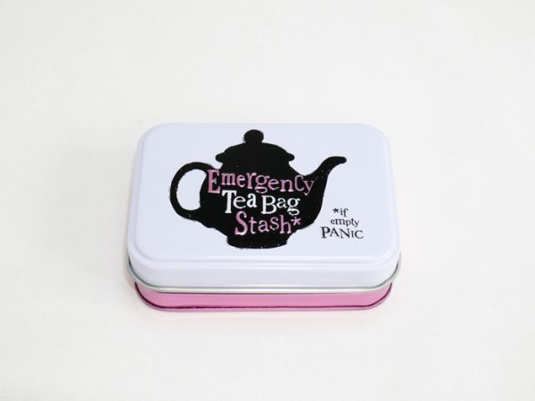 Emergency stash tea bag tin