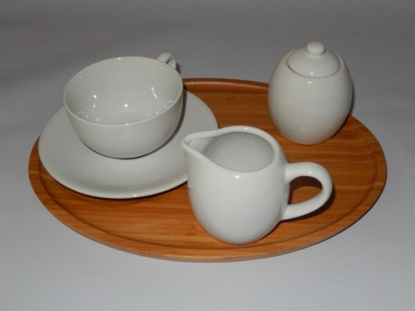 Teatray with cup, saucer, milk & sugar